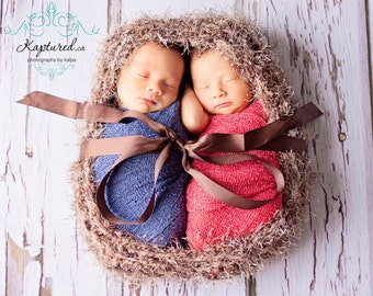 Newborn Twin Baby Cocoon Nest Knit BaBY PHoTo PRoP Unisex Bowl WooDLaND Brown Fuzzy Egg Boy Girl Textured Stretchy NeUTRaL PoD Choose Color