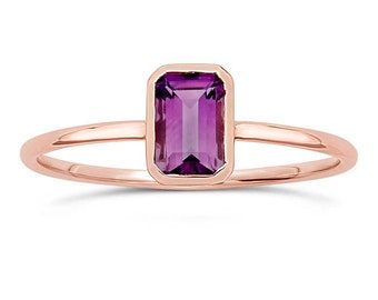 Amethyst 14K Rose Gold Ring, Emerald Cut, Octagon, Slim Band, February Birthstone, Gifts for Her, Gemstone Ring, Stackable