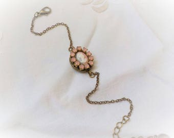 Victorian cameo and pink rhinestones