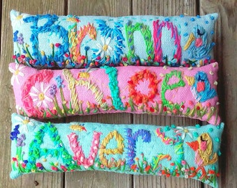 Personalized Baby Gift Freehand Embroidered Bohemian Letters Name Pillow Custom Made Up To Five Letters YelliKelli