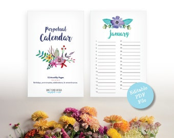Printable Perpetual Calendar - Watercolor Floral Birthday Calendar - Editable Anniversary Calendar - Eternal Planner - Instant Download PDF