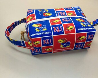 University of Kansas Jayhawks handmade shave kit, makeup bag, dop kit