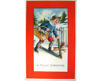 A Merry Christmas Postcard With Boy On Scooter and Dog, Whitney Postcard, Holiday Postcard, Vintage Ephemera, Old Postcards, Xmas Post Card