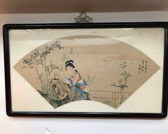 Framed Chinese Fan Shaped Painting on Silk Geisha Girl