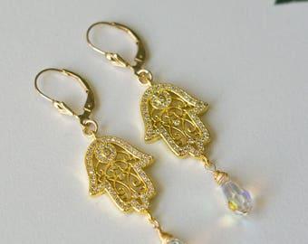 Hamsa (Fatima's hand) Earrings crystal pave. (0020)