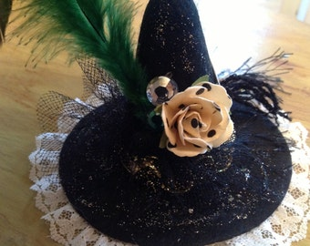 FEELING WITCHY, hat ornament, talisman, amulet, mini witch hat, Wiccan, pagan, Stevie Nicks, gypsy decor, Moon Goddess, Magic, Divination