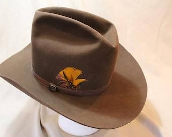 Vintage Resistol High Sierra Cowboy 3X Beaver Fur Felt Sorrel Brown Western  Hat 7 1/8 (57 cm) Self Conforming