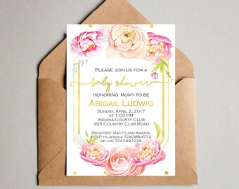 Baby shower invitation - Watercolor Floral baby shower invitation - Girl Baby Shower - Roses and peonies - Garden baby shower invitation