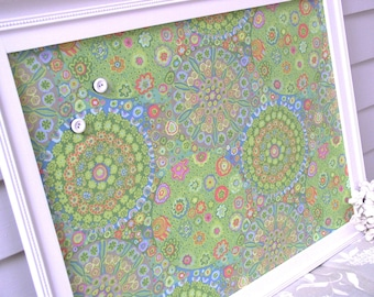 Cottage Magnet Board - Lime Green Abstract Millefiore Memo Message Board - Handmade Wood Frame 20.5 x 26.5 with Decorative Designer Fabric