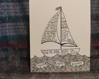 "Hand Lettered, Hand Drawn 8x10 ""Twenty years from now... Explore. Dream. Discover."" Mark Twain Quote"