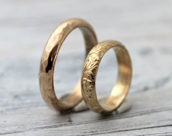 His and Hers Couples Rings-His and Hers wedding Rings- Modern Meets Classic 14K Gold Filled Wedding Band Set w Secret Message, R005
