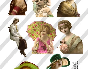Digital Collage Sheet  Vintage Women Images (Sheet no. O216) Instant Download