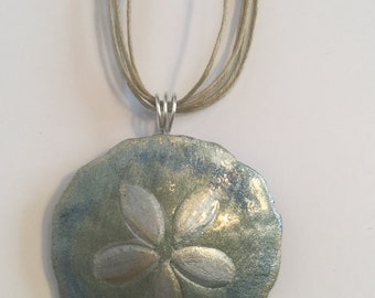Hand painted Sand dollar Necklace from Maine