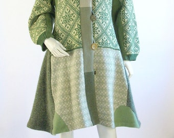 SALE: Women's Upcycled Sweater Coat/Altered Clothing/ Cream and Green/ Size Medium/ 10/12