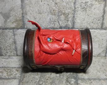 Desk Organizer Trinket Dice Mimic Dice Box Small Storage Treasure Chest Stash Red Leather Gamer MTG Card Box 271