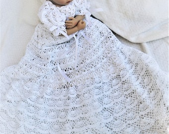 Baby andrea christening gown crochet pdf pattern, baptism gown pattern, blessing gown pattern, baby crochet pattern, baby dress pattern,