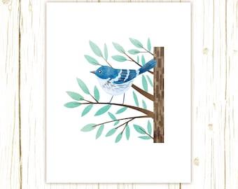 Cerulean Warbler Print -- bird art -- blue bird art 52 birds stephanie fizer coleman illustration