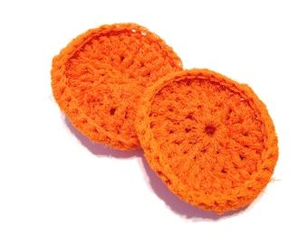 Orange Crocheted Nylon Netting Dish Scrubbies-Pair