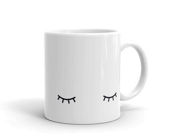 sleeping eyes mug, closed eyes cup
