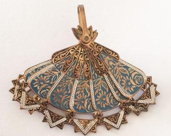 Damascene Fan Brooch Pendant, Enamel Vintage Jewelry SALE