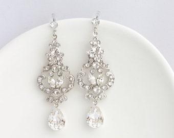 Wedding Earrings Chandelier Vintage Bridal Earrings Crystal Bridal Earrings Rhinestone Drop  Art Deco Wedding Jewelry FRANCES MID