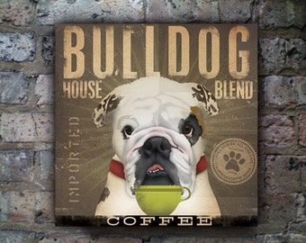 English Bulldog dog Coffee Company graphic art on gallery wrapped canvas by fowler