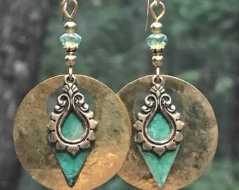 Art Deco earrings, unique dangle earrings, hammered brass, hammered metal, vintage patina, lightweight earrings, large earrings