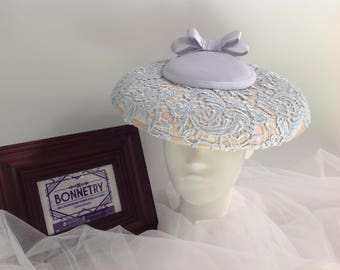 Periwinkle Blue Lace covered Hatinator with brim