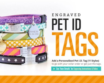 Cat Tag Pet Id / Engraved Cat ID Tag / Cat Collar ID Tag / Personalized Pet Id Tag for Cat or Small Dog / Double-sided Text + Slide Options