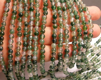 Moss agate - 5mm round beads -   full strand -  AA quality - 80 beads - RFG224