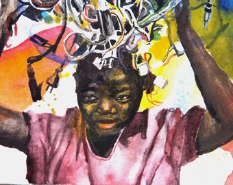 Brain Overload. Original Watercolor Painting