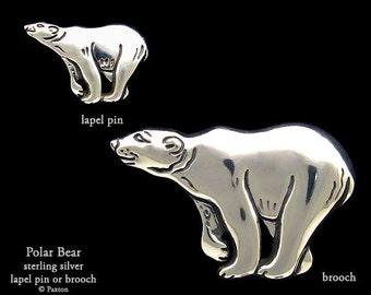 Polar Bear Lapel Pin or Polar Bear Brooch Sterling Silver