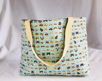 Cats on blue tote