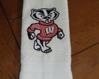 Embroidered Terry  Hand Towel - Wisconsin Bucky Badger