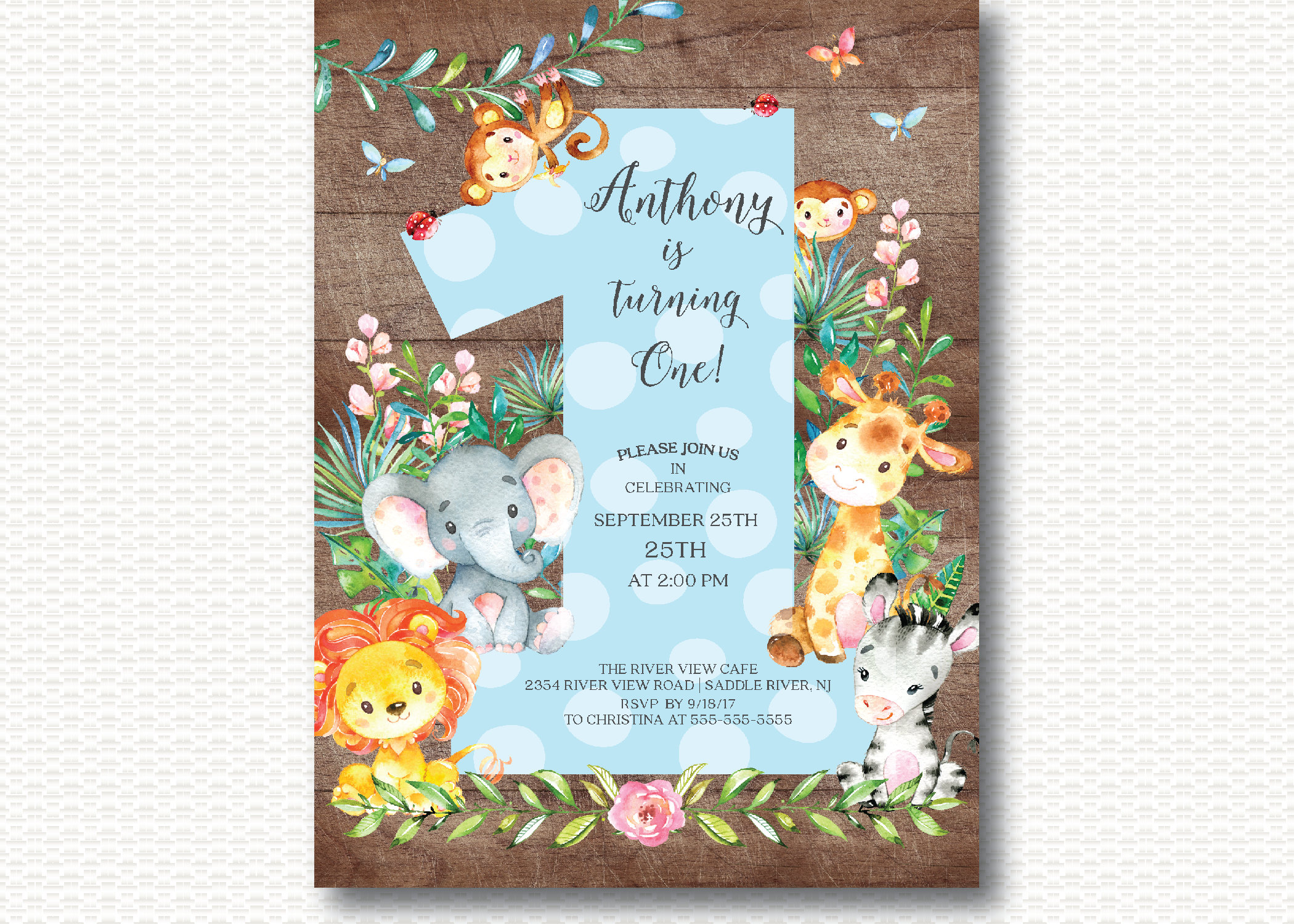Modern Safari First Birthday Invitations Motif Invitations Example