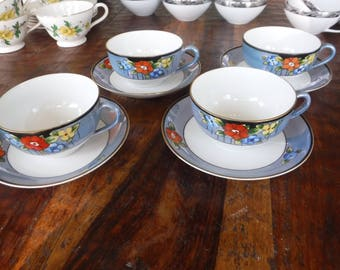 Set of 4 Vintage Japanese  Lusterware Tea Cup Saucer