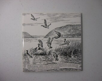 Vintage John Gould Trivet 'Mallards On Their Way' Black and White Cork Backed
