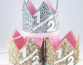 Half Birthday Crown || Pink and Gold Birthday || Gold Crown || Birthday Girl || UnBirthday || Baby Crown || Birthday Girl || 6 months
