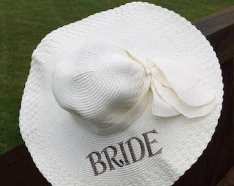 Bride Beach Hat, Personalized Bride Hat, Floppy Hat
