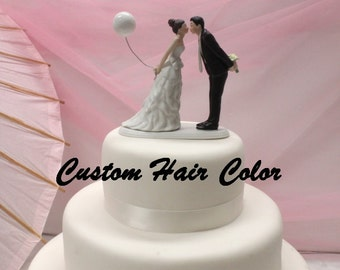 Wedding Cake Topper - Personalized Wedding Couple - Leaning in for a Kiss - Balloon Cake Topper - Weddings - Cake Topper - Romantic