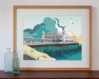 Brighton Pier Modern Retro Art Print