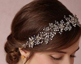 Bridal hair vine, Gold silver Wedding hair vine, Bridal headband, wedding wreath, pearl crystal hair jewelry, pearl headband, wedding hair