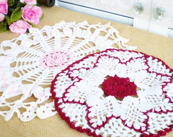 Vintage Doilies Pink, White Red Set Of 2 Rustic Wedding Doilies  Shabby Chic Decor Craft Projects
