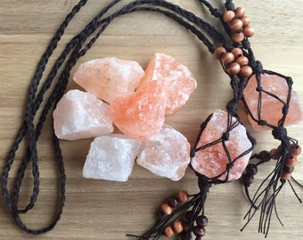 Himalayan Salt Crystal Hemp Macrame Car Charm Rear View Mirror Ornament Car Accessories Car Decor Eco Natural- Mountain Beads