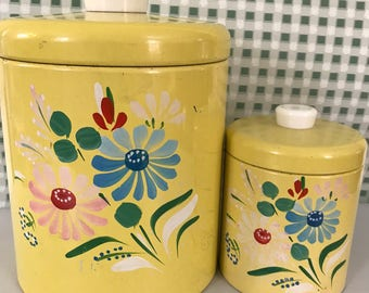 Hand painted yellow enameled canisters