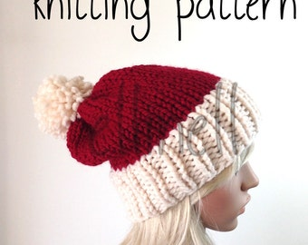 Knit Hat Pattern - Slouchy Hat - Two Tone - Pom Pom Hat - Santa Hat