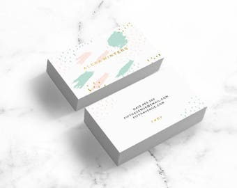 Modern Business Card Design (Gold Foil) - Brushy