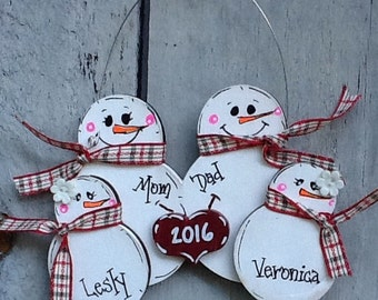 Family ornament 2017,  snowman family ornament, first christmas ornament, snowman ornament, wood ornament, snowman grab bag, snowman family