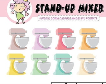 50%off INSTANT DOWNLOAD, Kawaii Stand-Up Mixer Digital Clipart Icons, kitchen mixer digital download, digital stickers for Goodnotes, clip a