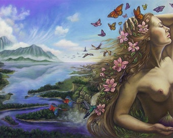 Goddess Art Pagan Art Fairy Art Fantasy Art Print Mother Nature Gaia 16 x 20 LARGE